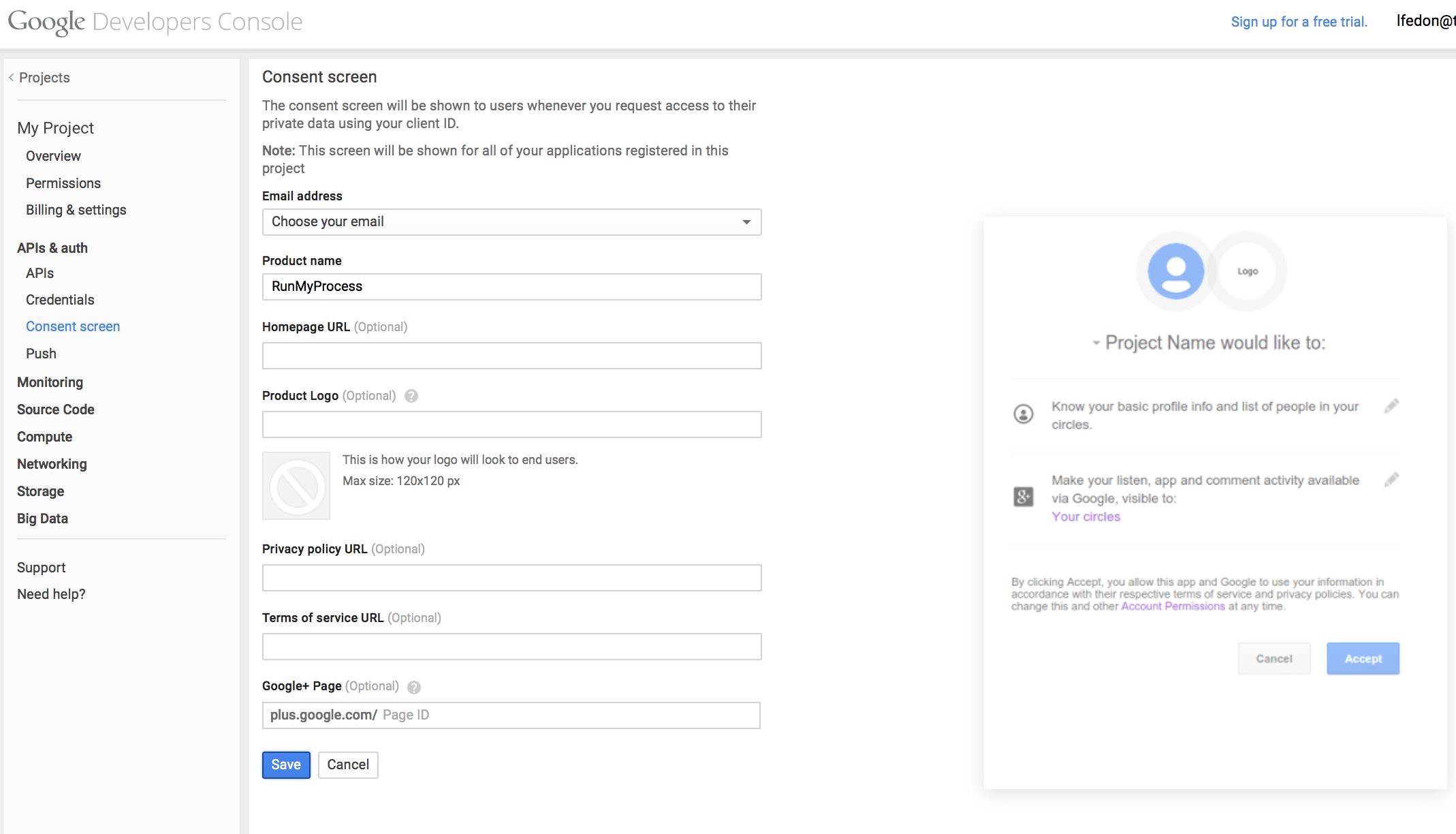 RunMyProcess User Guide » Google integration using OAuth 2 0