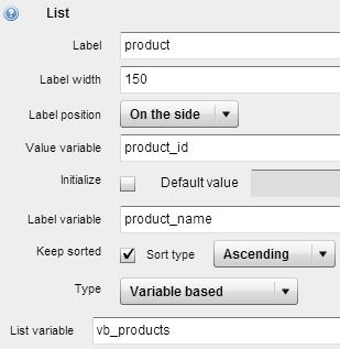 List variable based